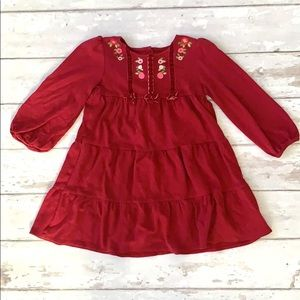 Gymboree 4T Girls Red Tiered Dress Floral Detail